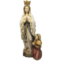 Our Lady of Lourdes with Crown, Bernadette in wood - color