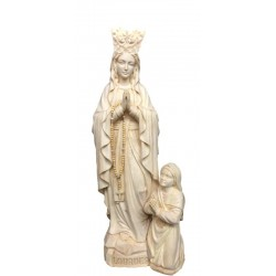 Our Lady of Lourdes with Crown, Bernadette in wood - natural
