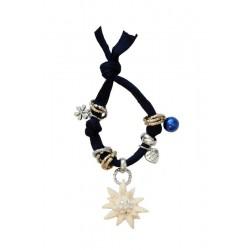 Armband dunkel blau mit Swarovski Edelweiß