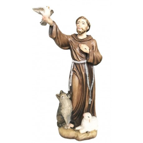 Saint Francis from Assisi with Flying Dove in His Hand - Dolfi Mary wood Statue - Made in Italy - oil colors
