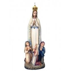 Madonna di Fatima con pastorelli e corona - drappo blu