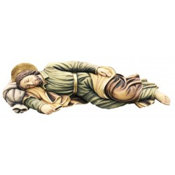 Sleeping Saint Joseph wood carved statue - color