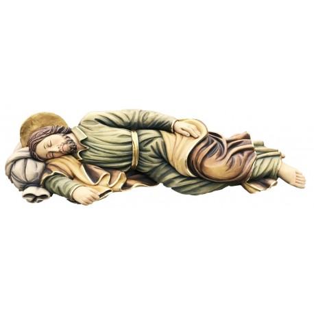Sleeping Saint Joseph wood carved statue - color