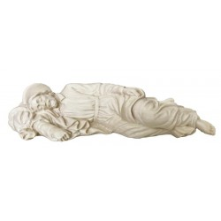 Saint Sleeping Joseph with Aureole on His Head wood carved in Val Gardena Italy wood carved Statue - natural
