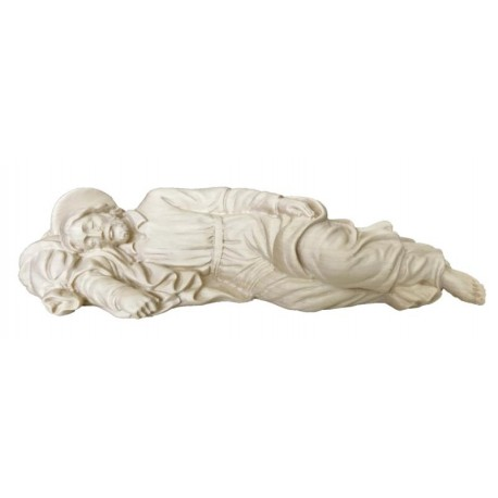 Sleeping Joseph wood carved statue - natural