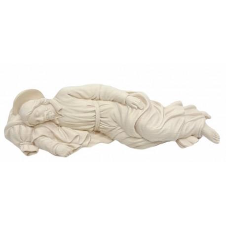 Sleeping Saint Joseph wood carved statue - natural