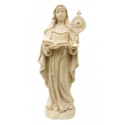 Saint Clara from Assisi with her Symbolic Attribute wood carved - Dolfi wood Angel - Made in Italy - natural