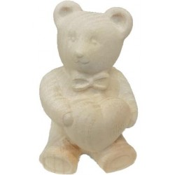 Lucky Teddy Bear in maple wood in blue - natural
