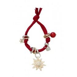 Armband rot mit Swarovski Edelweiß