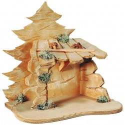 Stable Malsiner for Nativity Figures - Dolfi Wooden Stable for Nativity Set - Made in Italy