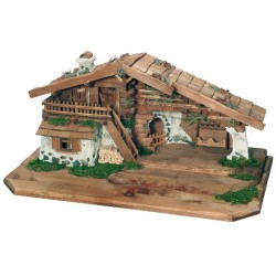 Stable Raffaello Nativity for Cribs Figures Wooden Stable for Outdoor Nativity Set - Made in Italy