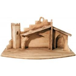 Stable Leonardo Crib for Cribs Figures - Dolfi Stable for Outdoor Nativity Scene - Made in Italy