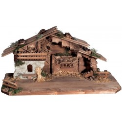 Stable for Nativity Set wood carved in Italy small Wooden Stable for Nativity - Made in Italy