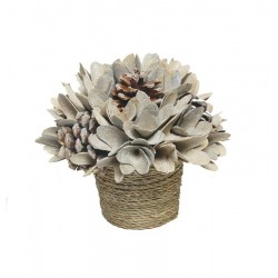 Wood Flower Centerpiece with Flowers