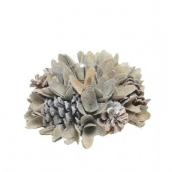 Tea Light Holder  with Pine Cones and Chips Wooden Flowers - Dolfi Return Gift Ideas - Made in Italy