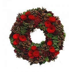 Ornamental Wreath in wood Red Flowers