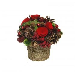 Centro tavola con fiori di legno