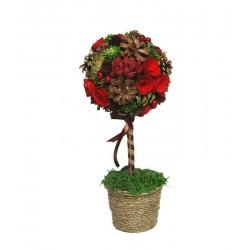Centrotavola con pigne e bacche rosse, ornamento e decorazione