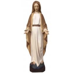 Figura di Maria Immacolata scolpita in legno pregiato - legno colorato in diverse tonalitá di marrone