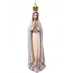Our Lady of Fatima with Crown - Dolfi wood carved Statue - Made in Italy - Blue cloth