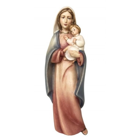 Mother with Child Madonna wood statue - color