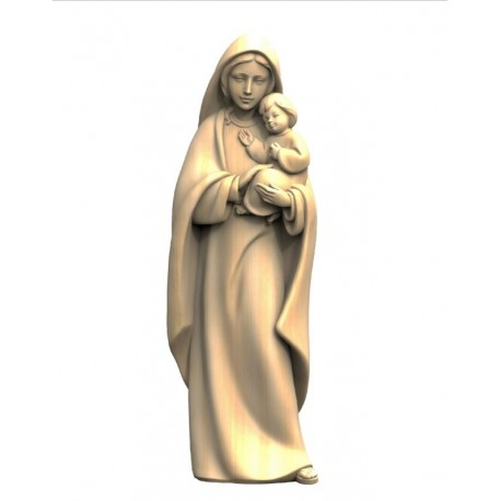 Mother with Child Madonna wood statue - Light brown