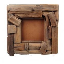 Porta foto quadrato legno rustico - Misure 32 x 32 cm, porta portese regali, Santa Cristina Gardena