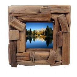 Porta foto quadrata in legno rustico - Misure 23 x 23 cm - Dolfi regali di laurea, Selva Val Gardena