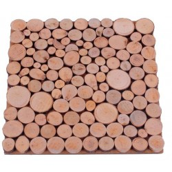 Wooden Square Trivet with Wooden Circles - size 20X20Cm 2 year Wedding Anniversary - Made in Italy