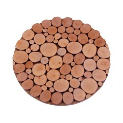 Round Trivet with wooden Circles 20 X 20 cm