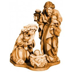 Block Krippe mit Heiliger Familie in Holz - mehrfach gebeizt