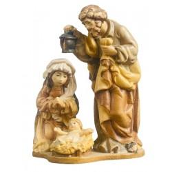 Sacra Famiglia, Maria, Giuseppe con Gesú bambino - legno colorato in diverse tonalitá di marrone