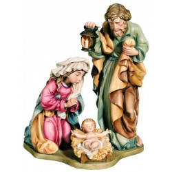 Holy Family Crib, Maria Joseph with Jesus carved in maple wood Hand carved Nativity - Made in Italy - oil colors