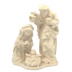 Holy Family Crib, Maria Joseph with Jesus carved in maple wood Hand carved Nativity - Made in Italy - natural