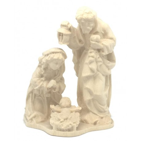 Holy Family Crib Nativity in wood - natural