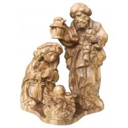 Block Krippe mit Heiliger Familie in Holz - Olive