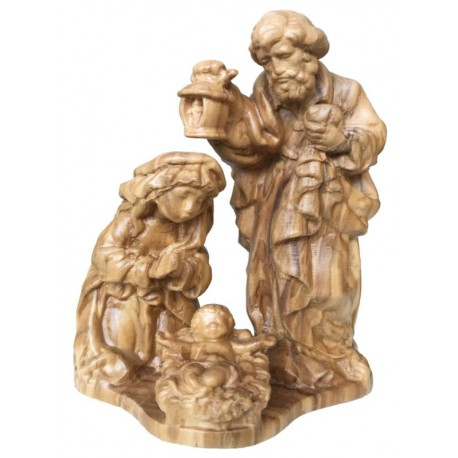 Holy Family Crib, Maria Joseph with Jesus carved in maple wood - hand made in Val Gardena Italy - olive