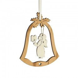 Bell decoration olive wood with angel