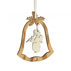 Bell decoration olive wood with engel