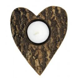 Porta lumino a forma di cuore in corteccia