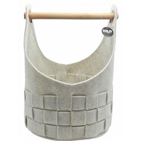Set di tre ceste in feltro color grigio chiaro - Dolfi regali in legno, Val Gardena