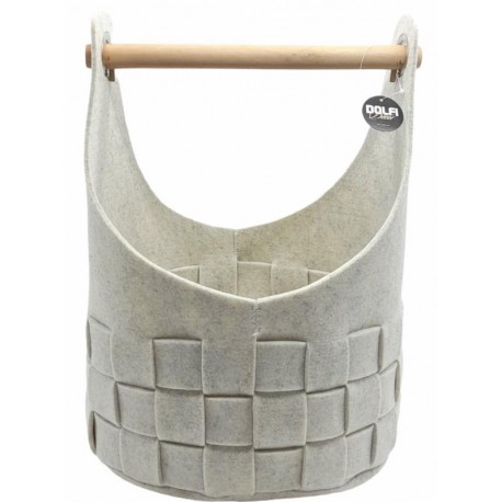 Set of 3 felt baskets in light gray - fireplace wood bag