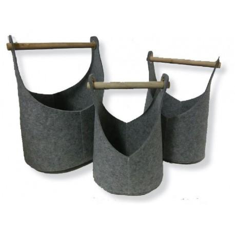 Set of 3 felt baskets - fireplace wood bag