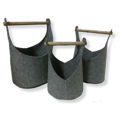 Set of 3 felt baskets - fireplace wood bag