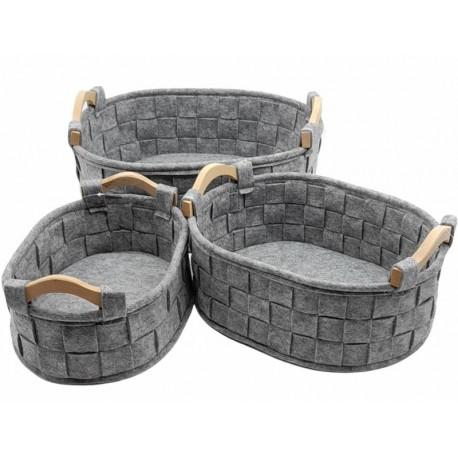 Set of 3 felt baskets