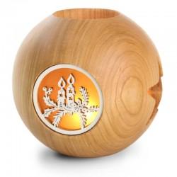 Kugelwindlicht; Dolfi Windlicht groß Holz, diese Holzschnitzerei ist eine echte Südtiroler Holzfigur
