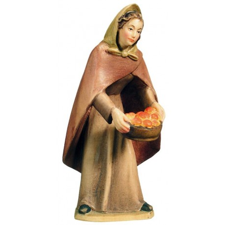 Shepherdess with Fruits - Dolfi Wooden Nativity Set - Made in Italy - color