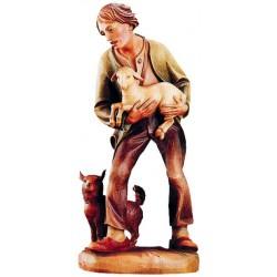 Figura di pastore scolpito con agnello e cane - Dolfi pastorello intagliato in legno, Ortisei