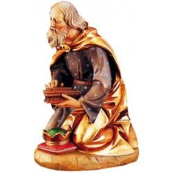 Re Magio in ginocchio finemente scolpito - Dolfi scultura intagliata in legno, Selva Val Gardena - colorato a olio