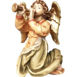 Angel with trumpet carved in maple wood  - lightly colored with oil paint
